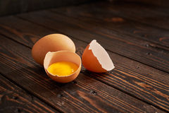 Broken brown egg Royalty Free Stock Images
