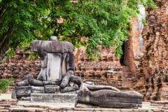 Broken Buddha at Ayuttaya Royalty Free Stock Images