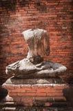 Broken Buddha Statue at Wat Chaiwattanaram Royalty Free Stock Image