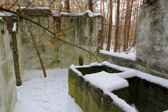 Broken building in winter forest Stock Photos