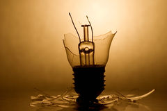 Broken bulb. Broken Lightbulb with backlight and reflection (in sephia stock image
