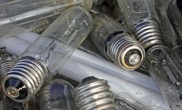 Broken bulbs in a landfill of waste Royalty Free Stock Photo
