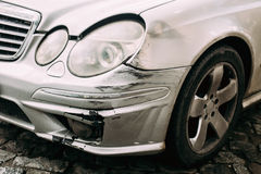 Broken Bumper Luxury Car Scratched With Deep Damage To Paint. Ab Stock Images