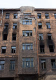 Broken burned building Stock Photo