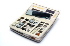 Broken Calculator. On White Background Stock Photo