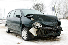 Broken car. The car which in a winter season has had an accident Royalty Free Stock Photos