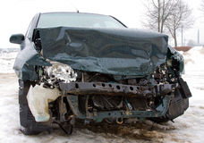 Broken car. The car after failure in a winter season (in a city Royalty Free Stock Photos