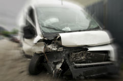 Broken car. A car has crashed and is thrown to the side Royalty Free Stock Photos