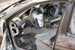 Broken car. View inside booth Stock Photo