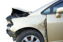 Broken car - accident, crash included clipping path Stock Photos