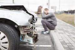 Broken car after the accident in foreground royalty free stock photography
