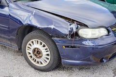 Broken car blue front colour Stock Photo