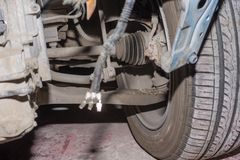 Broken car. Dirty broken car with wheels, close-up view Royalty Free Stock Images