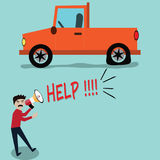 Broken car,driver shout for helping - vector Royalty Free Stock Photography