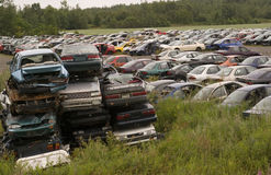 Broken car dump. All kind of broken cars in a dump Royalty Free Stock Photography