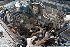 Broken car engine. / Somw parts are taked up Royalty Free Stock Images