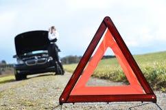 Broken car, girl Royalty Free Stock Photography