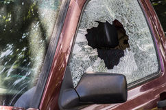 Broken car glass Stock Image