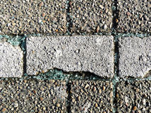Broken car glass shards on pavement Stock Photo
