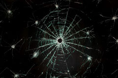 Broken car glass of windscreen Royalty Free Stock Images
