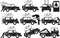 Broken car. Illustration - broken car icon set Royalty Free Stock Photography