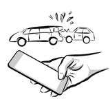 Broken Car Insurance Concept. Sketch with Cell Phone in Hand Royalty Free Stock Photos