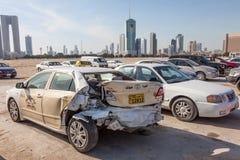 Broken car in Kuwait City Stock Photo