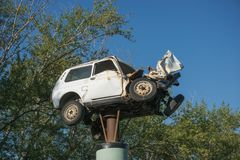 Broken car - a monument to drunken drivers stock images