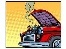 Broken car open hood engine smoke stock illustration
