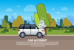 Broken Car On Road Background With Copy Space Vehicle Accident Concept. Flat Vector Illustration Stock Image
