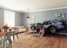 The broken car. In the room. 3d concept. Rendering Stock Photo