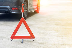 Broken car sign on a road Stock Photography