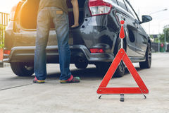 Broken car sign on a road Stock Image