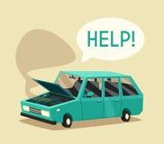 Broken car. Vector cartoon illustration. Need help Royalty Free Stock Image