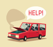 Broken car. Vector cartoon illustration. Need help. Car with open hood Royalty Free Stock Photography
