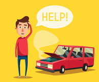 Broken car. Vector cartoon illustration. Need help. Car with open hood. Unhappy man. Human character Stock Photo