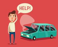 Broken car. Vector cartoon illustration. Need help. Car with open hood. Unhappy man. Human character Royalty Free Stock Photo
