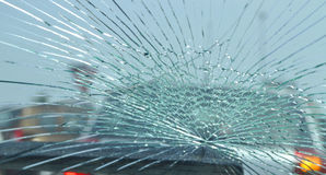 Broken car window Royalty Free Stock Image