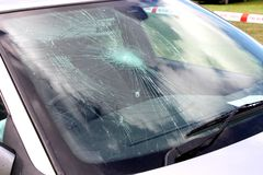Broken Car Windscreen. Royalty Free Stock Photo