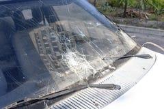 Broken car windshield stock photography