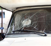 Broken car windshield Royalty Free Stock Image