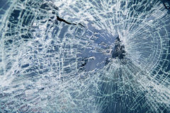 Broken car windshield. Tint blue Stock Images