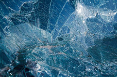 Broken car windshield. Tint blue Royalty Free Stock Images