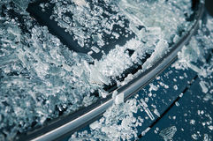 Broken car windshield. Tint blue Stock Image