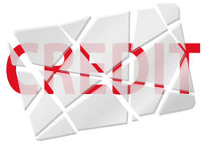Broken card symbol of bad credit debt. A credit card broken or cut to pieces to symbolize bad debt and other credit problems Stock Photos
