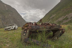 Broken cars near the pass Katu-Yaryk in the Altai Republic, Russ Stock Images