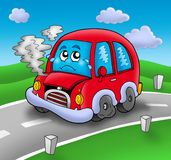 Broken cartoon car on road. Color illustration Royalty Free Stock Photos