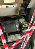 Broken cash machine. All taped up Stock Image