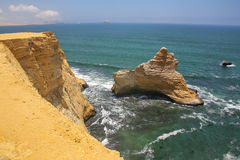 Broken Cathedral formation in Paracas National Reserve, Peru. Royalty Free Stock Images