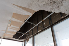Broken ceiling. The wooden ceiling was broken stock photography